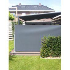 Antraciet Oprolbaar terras windscherm (in cassette, doek 150 cm hoog lang 350 cm)