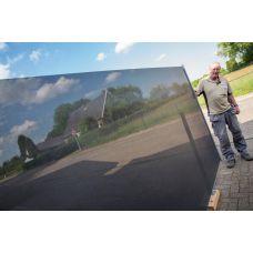 Antraciet Oprolbaar Doorzichtig terras windscherm (in cassette, doek 170 cm hoog lang 345 cm)  WS-006